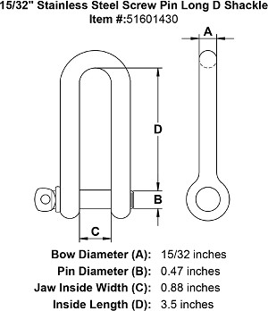 "15/32"" Stainless Steel Screw Pin Long D Shackle Image 4"