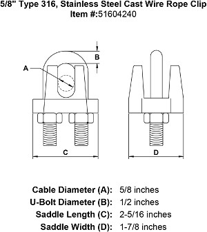 "5/8"" Type 316, Stainless Steel Cast Wire Rope Clip Image 4"