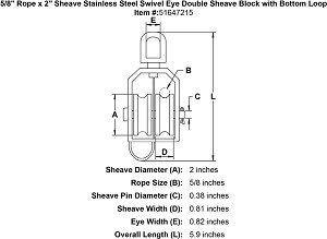 "5/8"" Rope x 2"" Sheave Stainless Steel  Swivel Eye Double Sheave Block with Bottom Loop Image 4"