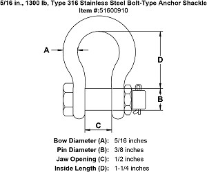 5/16 in., 1300 lb, Grade 316 Stainless Steel Bolt-Type Anchor Shackle Image 4