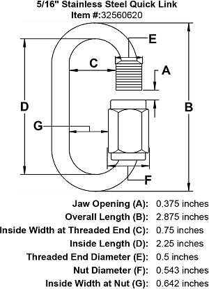 "5/16"" Stainless Steel Quick Link Image 4"
