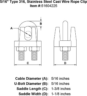 "5/16"" Type 316, Stainless Steel Cast Wire Rope Clip Image 4"
