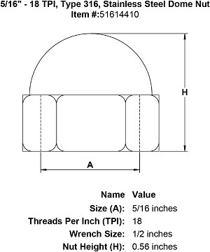 "5/16"" - 18 TPI, Type 316, Stainless Steel Dome Nut Image 4"