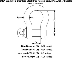 "5/16"" Grade 316, Stainless Steel Drop Forged Screw Pin Anchor Shackle Image 4"