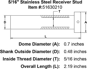 "5/16"" Stainless Steel Receiver Stud Image 4"