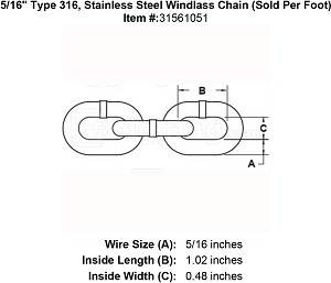 "5/16"" Type 316, Stainless Steel Windlass Chain (Sold Per Foot) Image 4"
