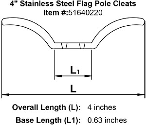 "4"" Stainless Steel Flag Pole Cleats Image 4"