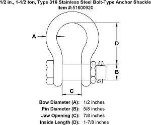 1/2 in., 1-1/2 ton, Grade 316 Stainless Steel Bolt-Type Anchor Shackle Image 4