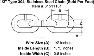 "1/2"" Type 304, Stainless Steel Chain (Sold Per Foot) Image 4"