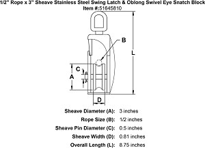 "1/2"" Rope x 3"" Sheave Stainless Steel Swing Latch & Oblong Swivel Eye Snatch Block Image 4"
