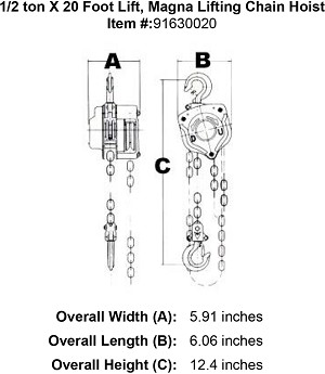 1/2 ton X 20 Foot Lift, Magna Lifting Chain Hoist Image 4
