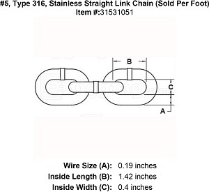 #5, Type 316, Stainless Straight Link Chain (Sold Per Foot) Image 4