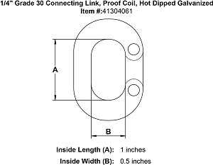 "1/4"" Grade 30 Connecting Link, Proof Coil, Hot Dipped Galvanized Image 3"
