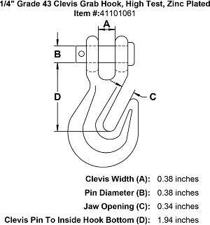 "1/4"" Grade 43 Clevis Grab Hook, High Test, Zinc Plated Image 4"