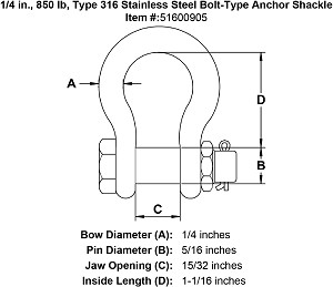1/4 in., 850 lb, Type 316 Stainless Steel Bolt-Type Anchor Shackle Image 4