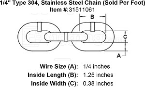 "1/4"" Type 304, Stainless Steel Chain (Sold Per Foot) Image 2"