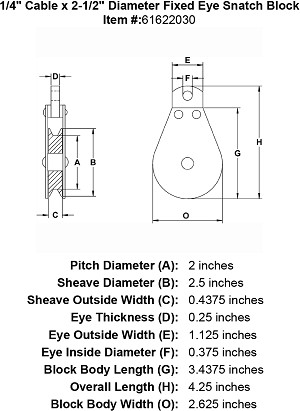 "1/4"" Cable x  2-1/2"" Diameter Fixed Eye Snatch Block Image 4"