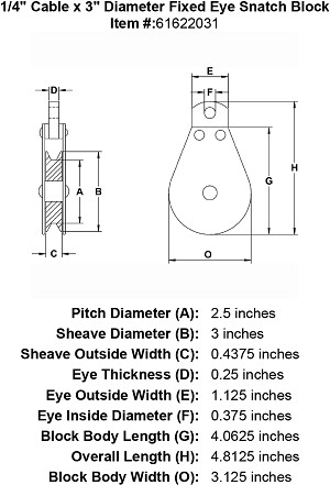"1/4"" Cable x  3"" Diameter Fixed Eye Snatch Block Image 4"