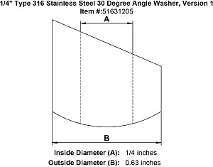 "1/4"" Grade 316 Stainless Steel Angle Washer Image 2"