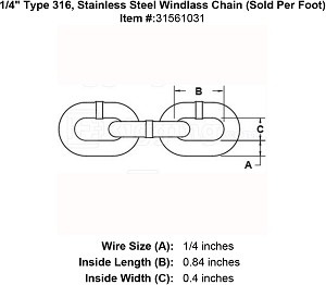 "1/4"" Type 316, Stainless Steel Windlass Chain (Sold Per Foot) Image 2"
