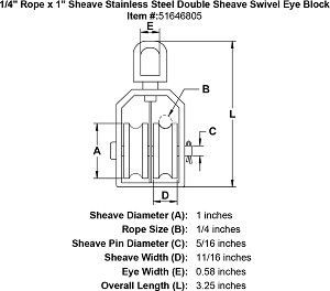 "1/4"" Rope x 1"" Sheave Stainless Steel Swivel Eye Double Sheave Block Image 2"