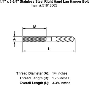 "1/4"" x 3-3/4"" Stainless Steel Right Hand Lag Hanger Bolt Image 2"
