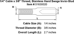 "1/4"" Cable x 3/8"" Thread, Stainless Cable Railing Invisi-Stud Image 3"