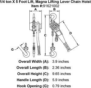 1/4 ton X 5 Foot Lift, Magna Lifting Lever Chain Hoist Image 4