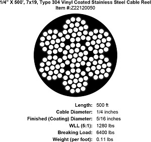 "1/4"" X 500', 7x19, Type 304 Vinyl Coated Stainless Steel Cable Reel Image 4"