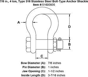 7/8 in., 4 ton, Type 316 Stainless Steel Bolt-Type Anchor Shackle Image 4