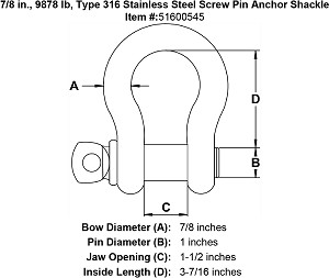 7/8 in., 4 ton, Grade 316 Stainless Steel Screw Pin Anchor Shackle Image 4