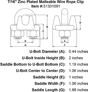 "7/16"" Zinc Plated Malleable Wire Rope Clip Image 4"