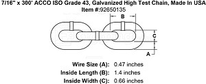 "7/16"" ACCO ISO Grade 43, Galvanized High Test Chain, Made In USA (Sold Per Foot) Image 2"