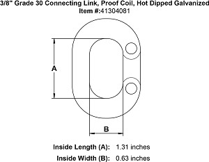 "3/8"" Grade 30 Connecting Link, Proof Coil, Hot Dipped Galvanized Image 3"