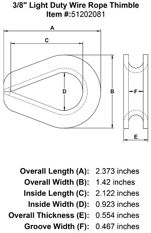 "3/8"" Light Duty Wire Rope Thimble Image 4"