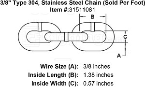 "3/8"" Type 304, Stainless Steel Chain (Sold Per Foot) Image 4"
