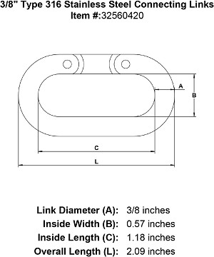 "3/8"" Type 316 Stainless Steel Connecting Links Image 4"