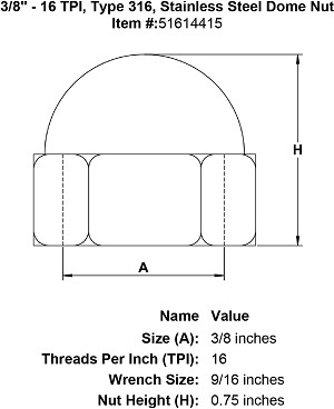 "3/8"" - 16 TPI, Type 316, Stainless Steel Dome Nut Image 4"