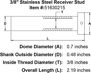 "3/8"" Stainless Steel Receiver Stud Image 3"