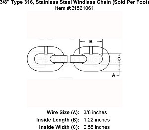 "3/8"" Grade 316, Stainless Steel Windlass Chain (Sold Per Foot) Image 4"