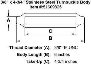 "3/8"" x 4-3/4"" Stainless Steel Turnbuckle Body Image 2"