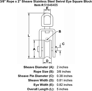 "3/8"" Rope x 2"" Sheave Stainless Steel Swivel Eye Square Block Image 4"