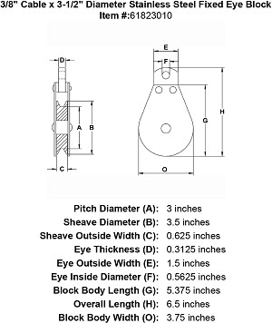 "3/8"" Cable x  3-1/2"" Diameter Stainless Steel Fixed Eye Block Image 4"