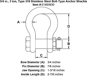 3/4 in., 3 ton, Type 316 Stainless Steel Bolt-Type Anchor Shackle Image 4