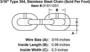 "3/16"" Grade 304, Stainless Steel Chain (Sold Per Foot) Image 4"