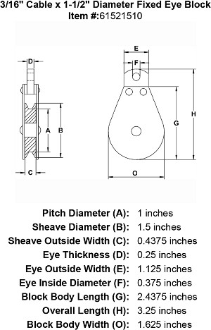 "3/16"" Cable x 1-1/2"" Diameter Fixed Eye Block Image 4"