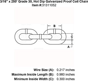 "3/16"" x 250' Grade 30, Hot Dip Galvanized Proof Coil Chain Image 4"