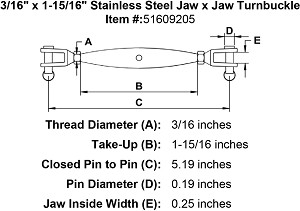 "3/16"" x 1-15/16"" Stainless Steel  Jaw x Jaw Turnbuckle Image 2"