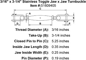"3/16"" x 1-15/16"" Stainless Toggle Jaw x Jaw Turnbuckle Image 2"