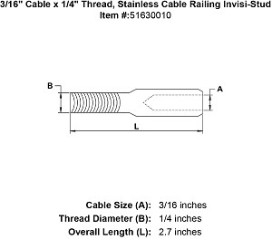 "3/16"" Cable x 1/4"" Thread, Stainless Cable Railing Invisi-Stud Image 3"